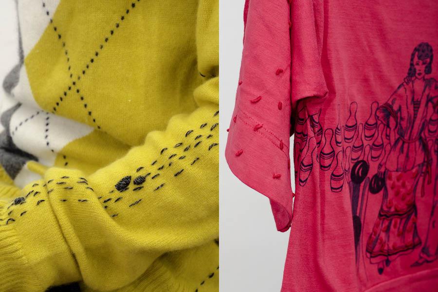 creative mending on vintage knitwear