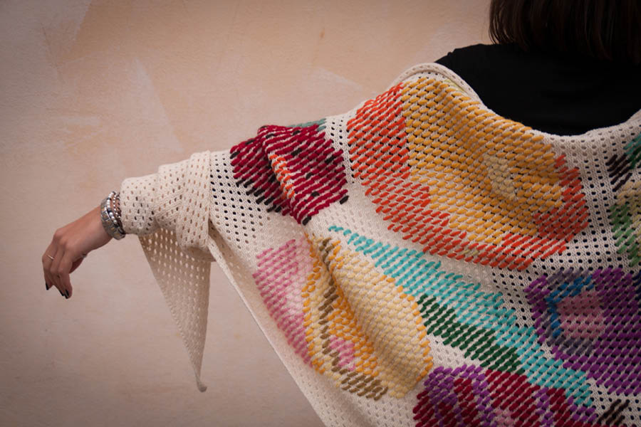 hand knitted and hand embroidered shawl